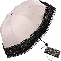 kilofly Anti-UV Folding Arched Parasol Lace Embroidered Travel Umbrella, UPF 40+
