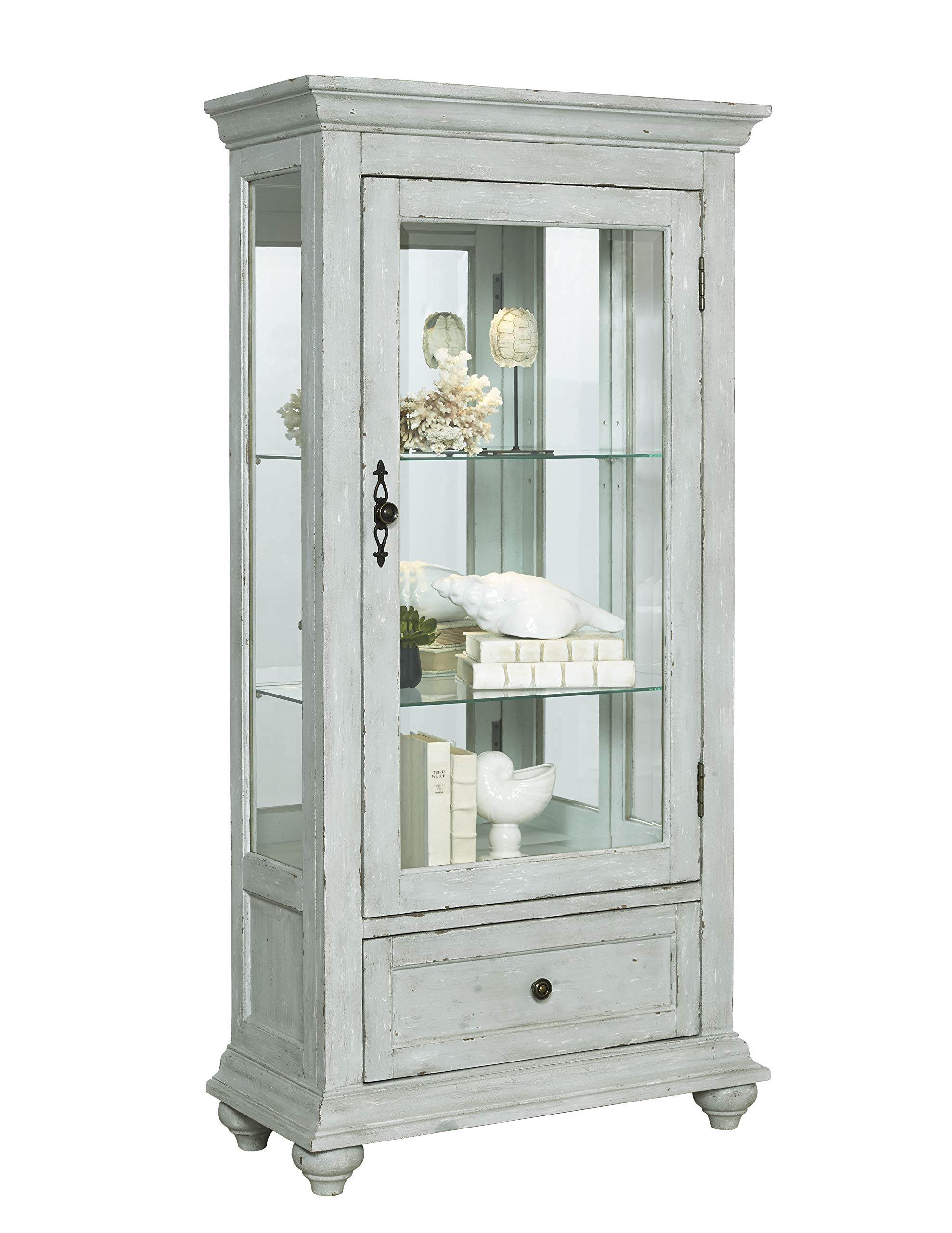 Pulaski  Traditional Antique 2 Shelves Curio Display Cabinet with Led Light, 30'' x 14'' x 60.5''