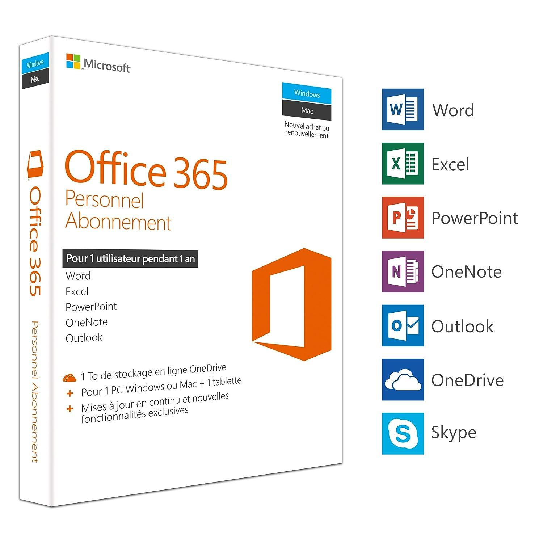 ad8facb43cc7a9 Microsoft Office 365 Personnel   1 PC Windows ou Mac + 1 tablette   1 an    Box  Amazon.fr  Logiciels