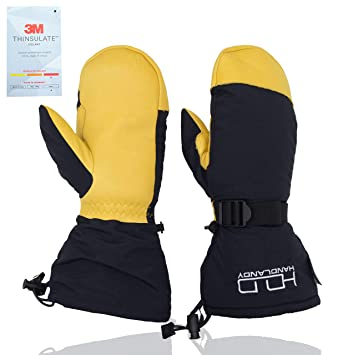 074e9eab11793 Men Winter Mitten, Fleece Snowmobile Mittens- Warm 3M Thinsulate Insulation,  Waterproof Cowhide Leather