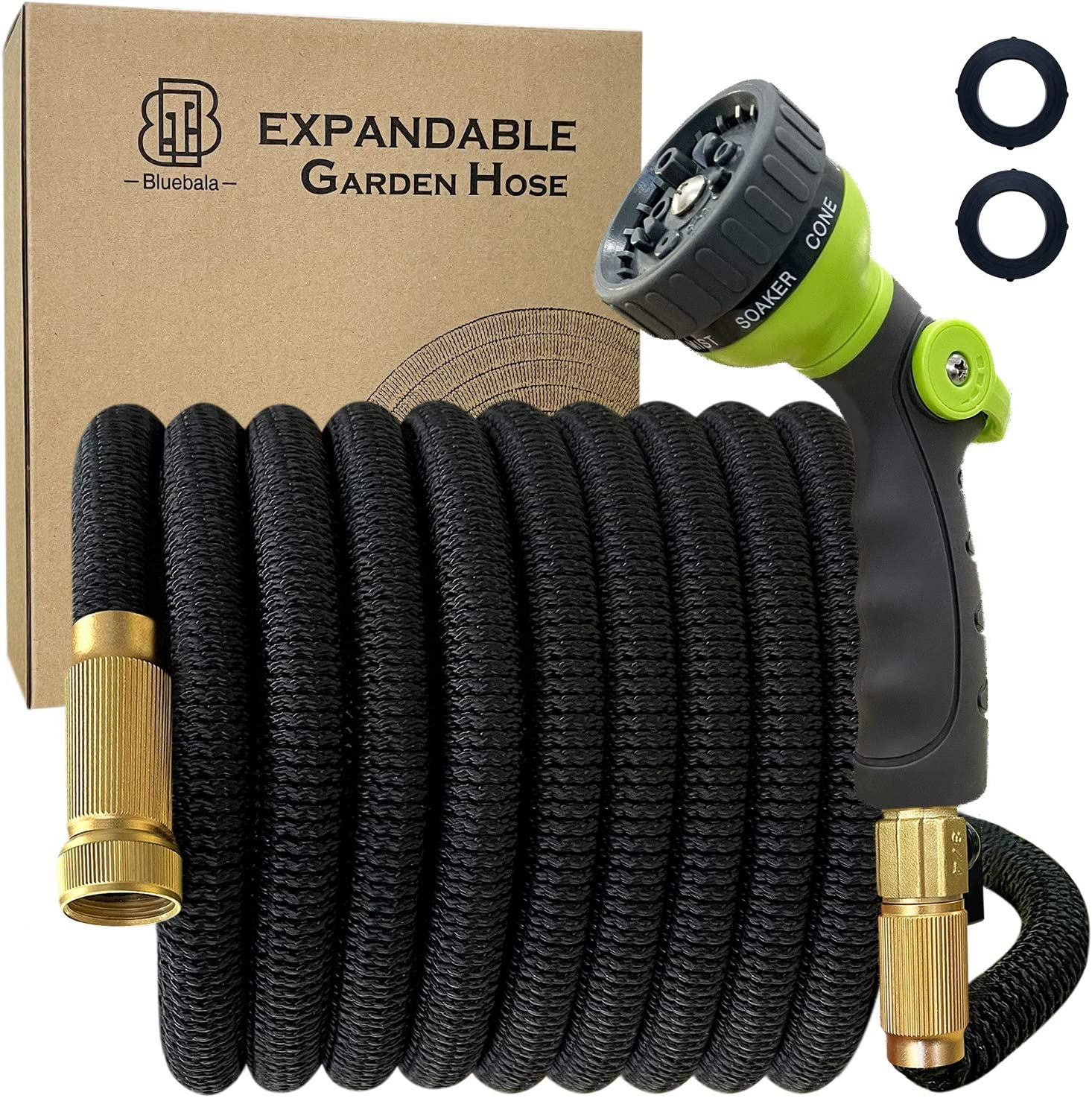 Bluebala Flexible Expandable Garden Hose - Expending Latex Water Hose with High Strength Fabric, 8-Function Nozzle and Solid Brass Fittings, No Kink, Save space, Portable and Easy Storage (25 FT)