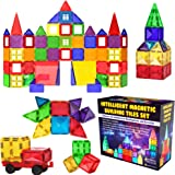Desire Deluxe Magnetic Tiles Blocks Building Set for Kids – Learning Educational Toys for Boys Girls for Age 3 - 8 Year-Old – Birthday Present Gift (57PC)