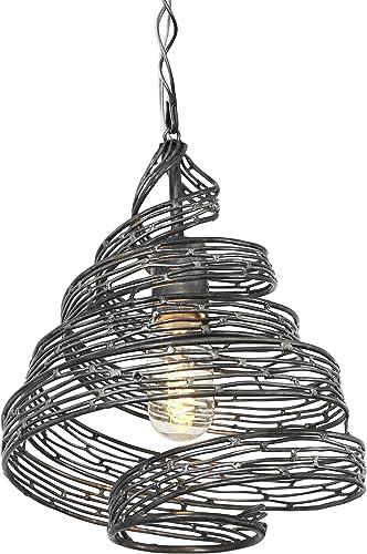 Varaluz 240P01SL Flow 1-Light Twist Mini Twist Pendant – Steel Finish