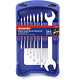 WORKPRO 8-Piece Double Open End Wrench Set Metric Cr-V with ABS Organizer Rack