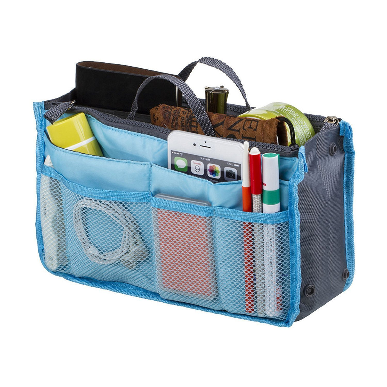 Go Beyond (TM) Top Quality Blue Organizer Travel Bag For Women| 12 Compartment Tote/ Toiletry Bag For Makeup & Travel/ Cosmetic Accessories Organizing| Insert-Organizer| Women's Handbags by Go Beyond (TM) (Image #1)