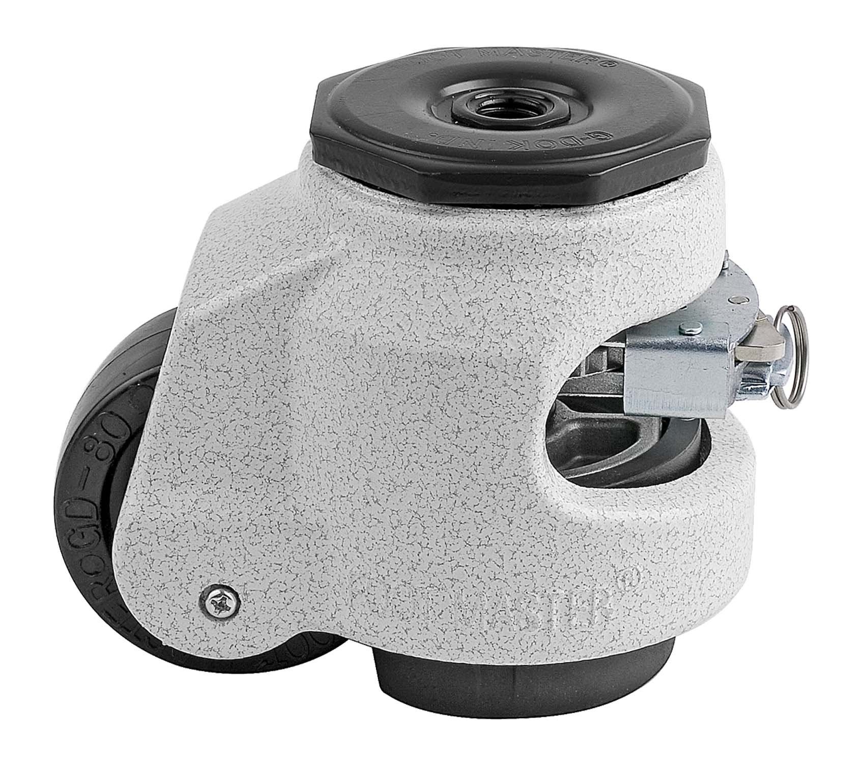 FOOTMASTER GDR-80S Nylon Wheel and NBR Pad Ratcheting Leveling Caster, 1100 lbs, Stem Mounted with 0.472'' Mounting Hole Diameter, Ivory