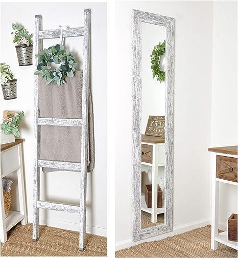 BrandtWorks Juego de 2 Piezas de Granja – Escalera de Manta de 1,8 m y 40,6 cm x 71 Pulgadas. Espejo de Piso Delgado: Amazon.es: Hogar