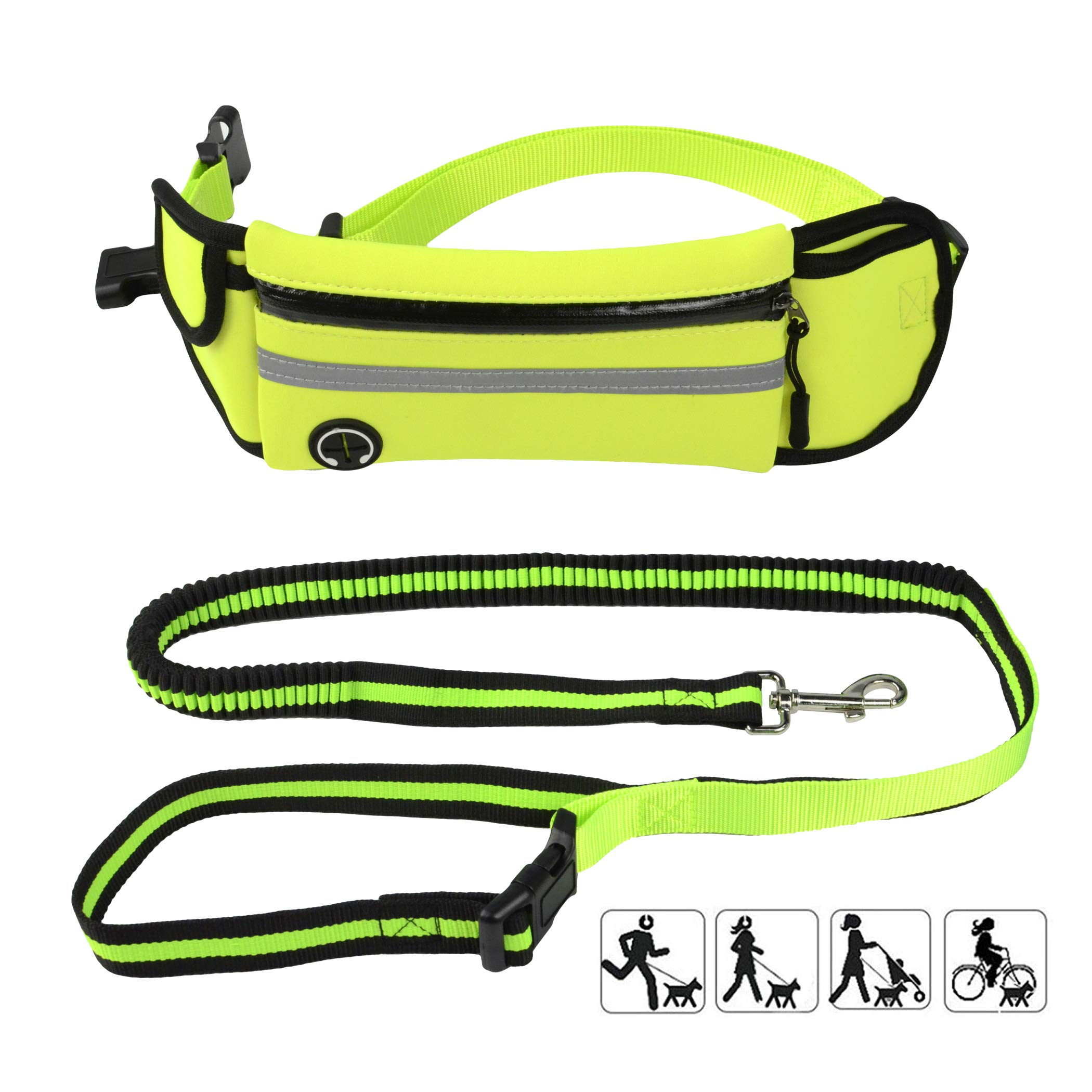 Baconlor Hands Free Dog Leash Belt for Walking Running Hiking- Reflective Adjustable Dog Leash Belt for Small Medium Large Up to 150 lbs Dogs,Durable Strong Safe Bungee Waist Leash For Easy Control