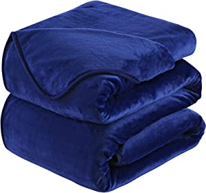 Soft Blanket Twin Size Fleece Warm Fuzzy Throw Blankets for The Bed Sofa Lightweight 350GSM HOZY Royal Blue 66