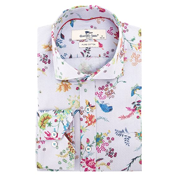 08c10958fbe Claudio Lugli Canary and Bloom Print Fashion Cotton Long Sleeve Spring  Casual Men s Shirt White