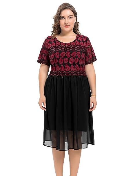 d24862f1e Chicwe Mujeres Tallas Grandes Forrado Vestido con Falda de Gasa ...