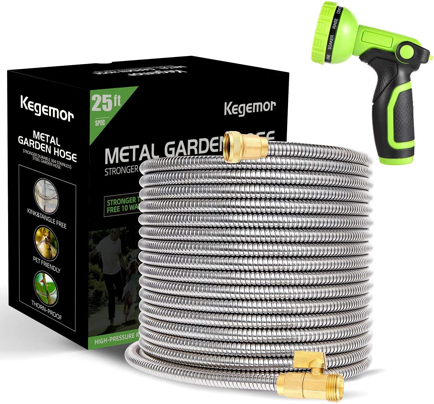 kegemor Garden Hose 25 ft-Metal Water Hose -Flexible Lightweight Outdoor Yard Strong Durable Heavy Duty 304 Stainless Steel Hose Pipe with 10-Way Nozzle, Solid 3/4