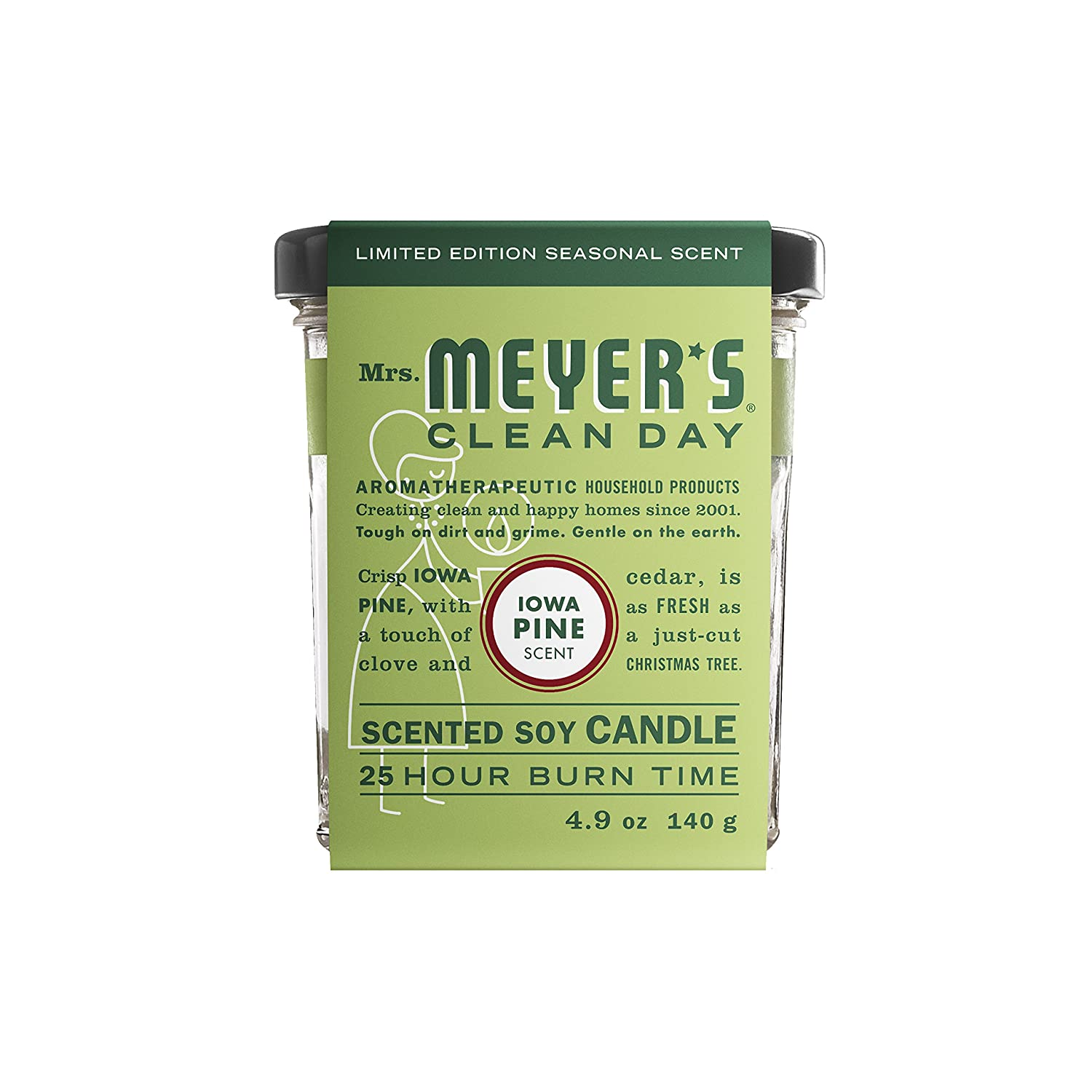 Mrs. Meyer's Clean Day Scented Soy Candle, Small Glass, Iowa Pine, 4.9 oz