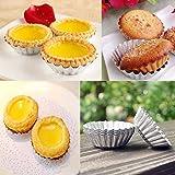 Grosun 50Pcs Egg Tart Aluminum Cupcake Baking