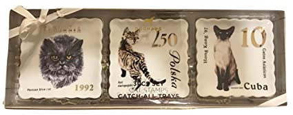 Doghaus Cats Stamps Catch-All Small Ceramic Trays, 3Pcs