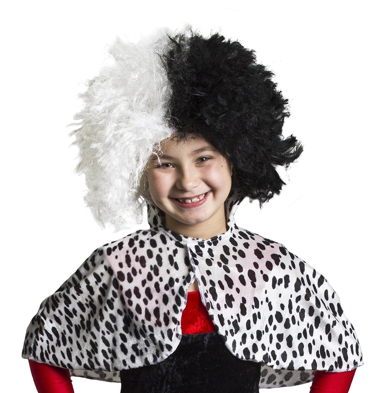 CHILDS EVIL DOG LADY COSTUME DALMATIAN VILLIAN HALLOWEEN BOOK WEEK FANCY DRESS