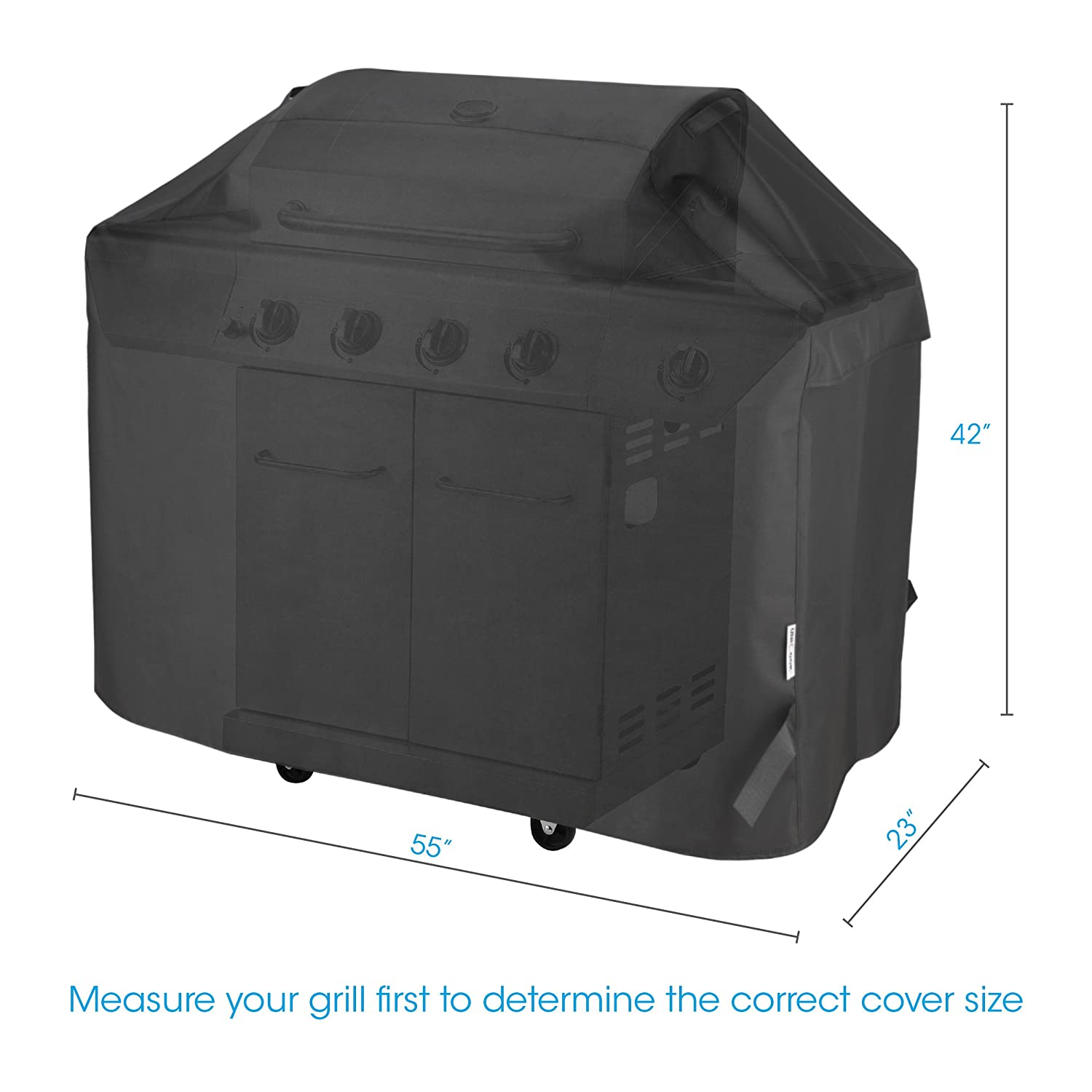 Unicook Heavy Duty Waterproof Barbecue Gas Grill Cover, 55-inch BBQ Cover, Special Fade and UV Resistant Material,Fits Grills of Weber Char-Broil Nexgrill Brinkmann and More Homepro Manufacturing
