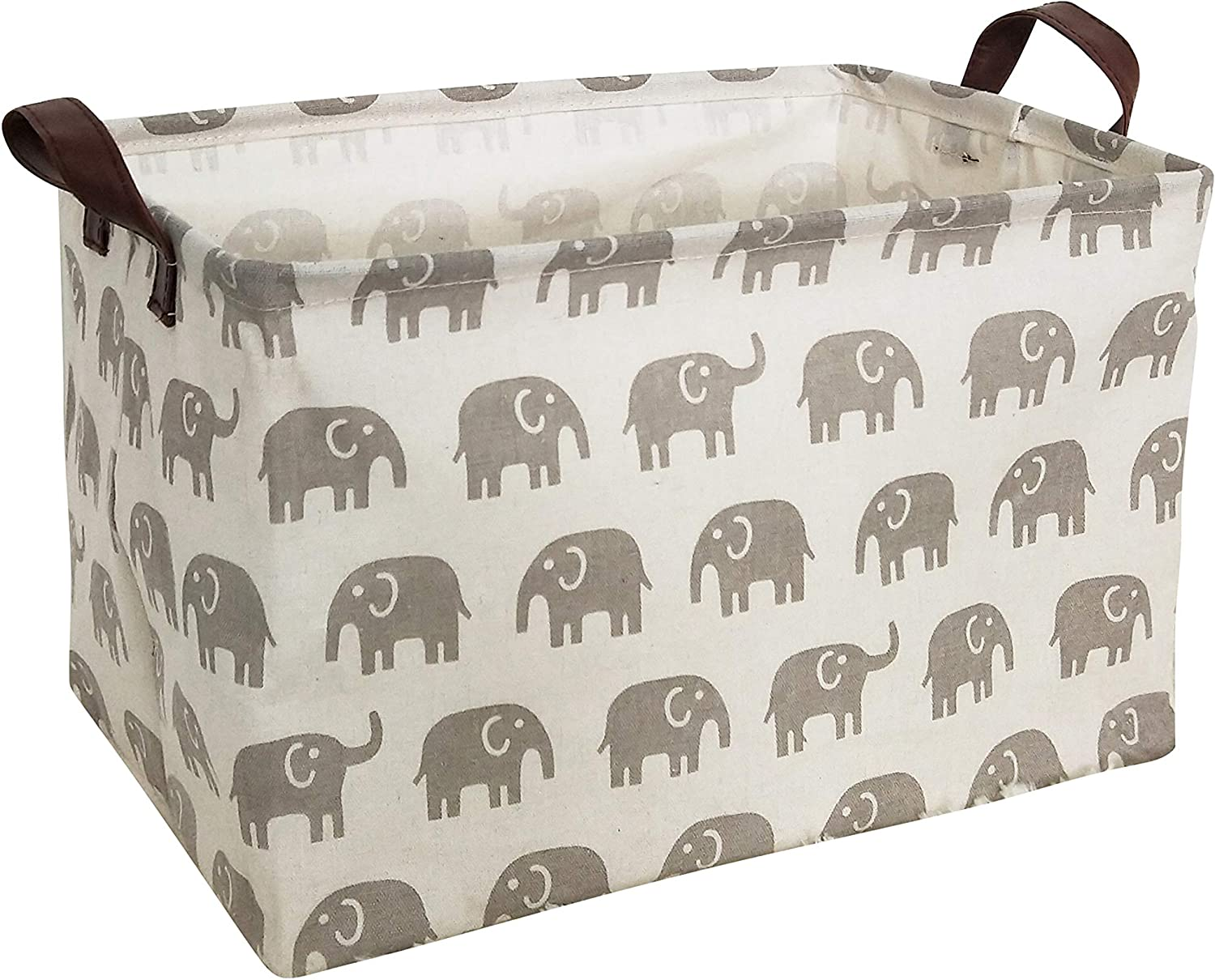 Gift Baskets Pink Elephant Fabric Collapsible Storage Bin for Organizing Toys,Nursery Basket,Clothing,Books Kids or Pets HIYAGON Rectangular Storage Box Basket for Baby