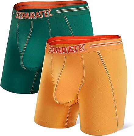 Separatec Men's Dual Pouch Underwear Comfort Flex Fit Premium Cotton Modal Blend Boxer Briefs 2-3 Pack