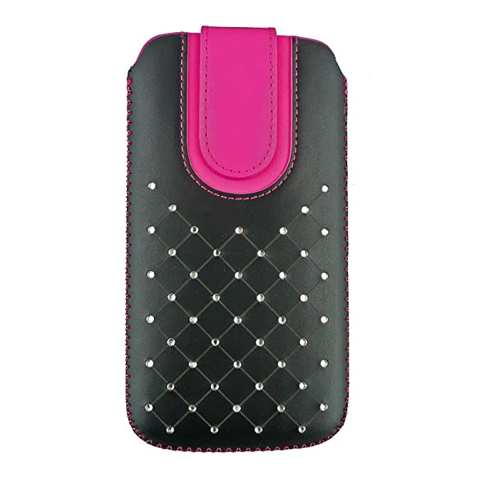 Emartbuy Faux Leather Slide in Pouch Case Cover with Magnetic Flap for Sony Xperia XA1 Ultra  17.5x10.4x1cm    Black/Hot Pink Gem Studded Mobile Acces