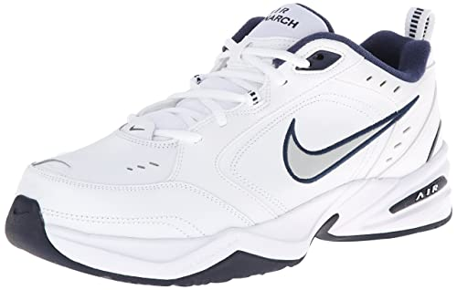 Nike Men's Nike Air Monarch IV Training Shoes 9.5 (White/Metallic Silver-Mid Navy)
