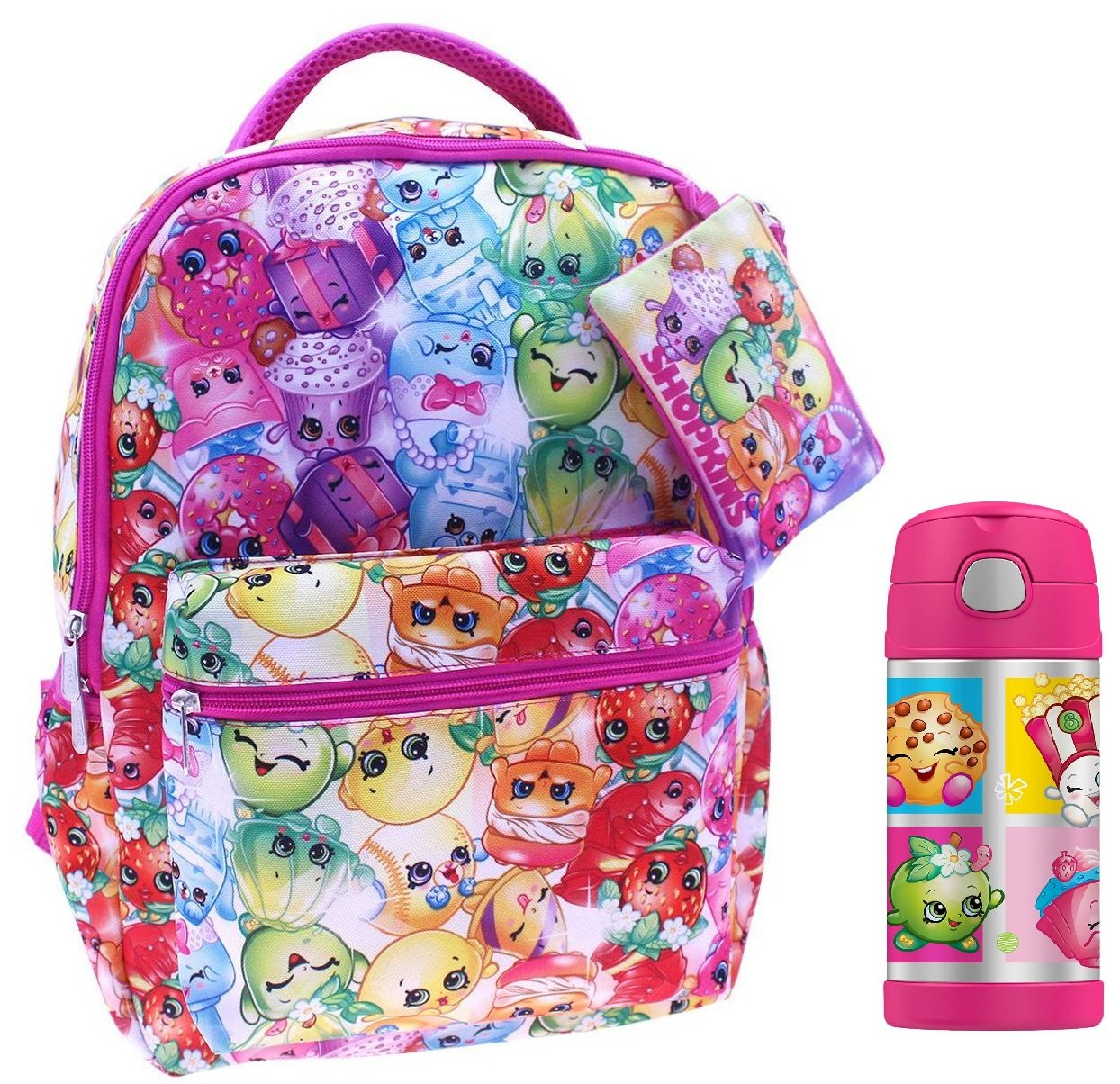 Shopkins Back to School 3 Pc Set with Backpack, Carry Case, and Thermos Bottle by Moose Toys