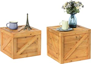 Vintiquewise Square Decorative Wooden Chest Trunk Set of 2, Natural Wood