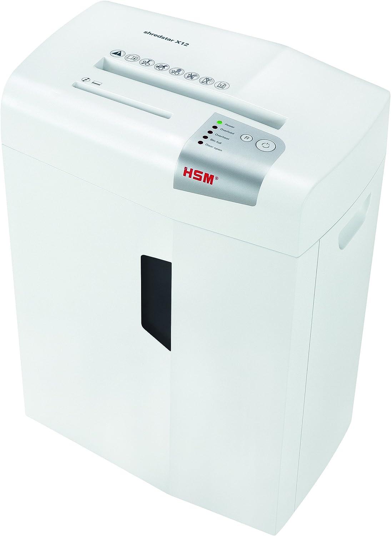 HSM shredstar X12 Cross-Cut; Shreds Up to 12 Sheets; 6.1-Gallon Capacity Shredder, White