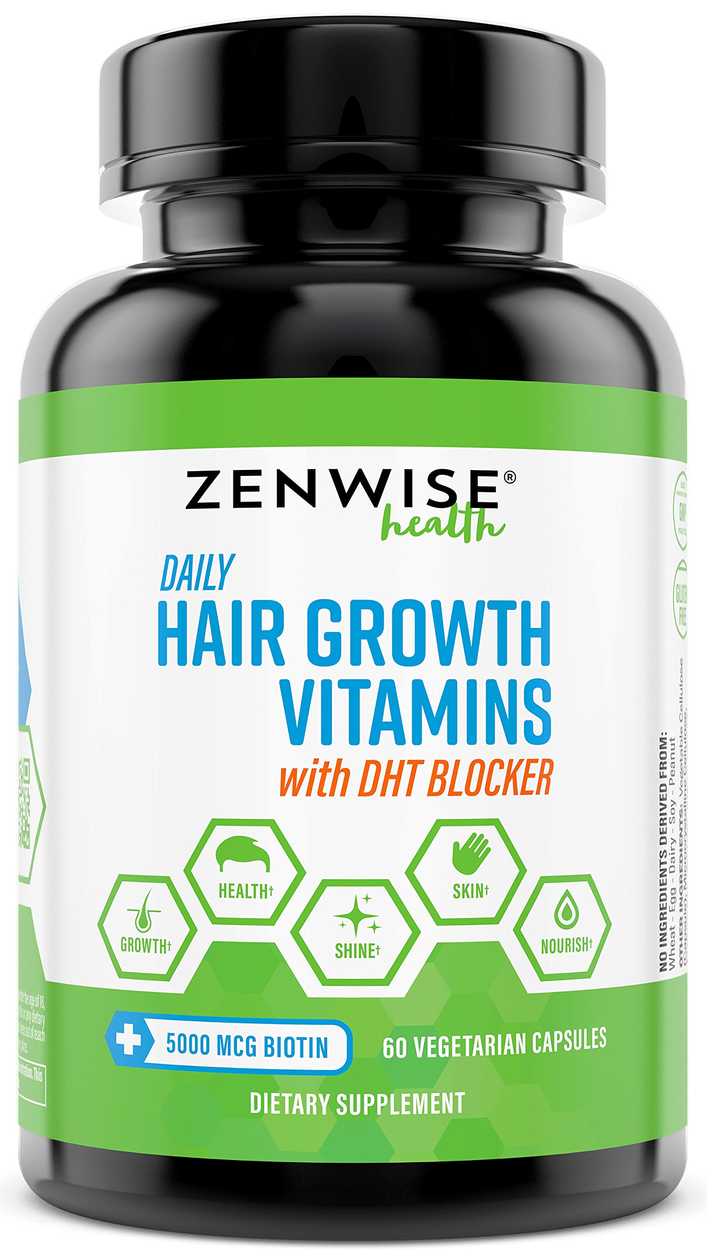 Hair Growth Vitamins Supplement - 5000 mcg Biotin & DHT Blocker Hair Loss Treatment for Men & Women - 1 Month Supply With Vitamin A & E to Stimulate Faster Regrowth + Care for Damaged Hair - 60 Pills by Zenwise Health
