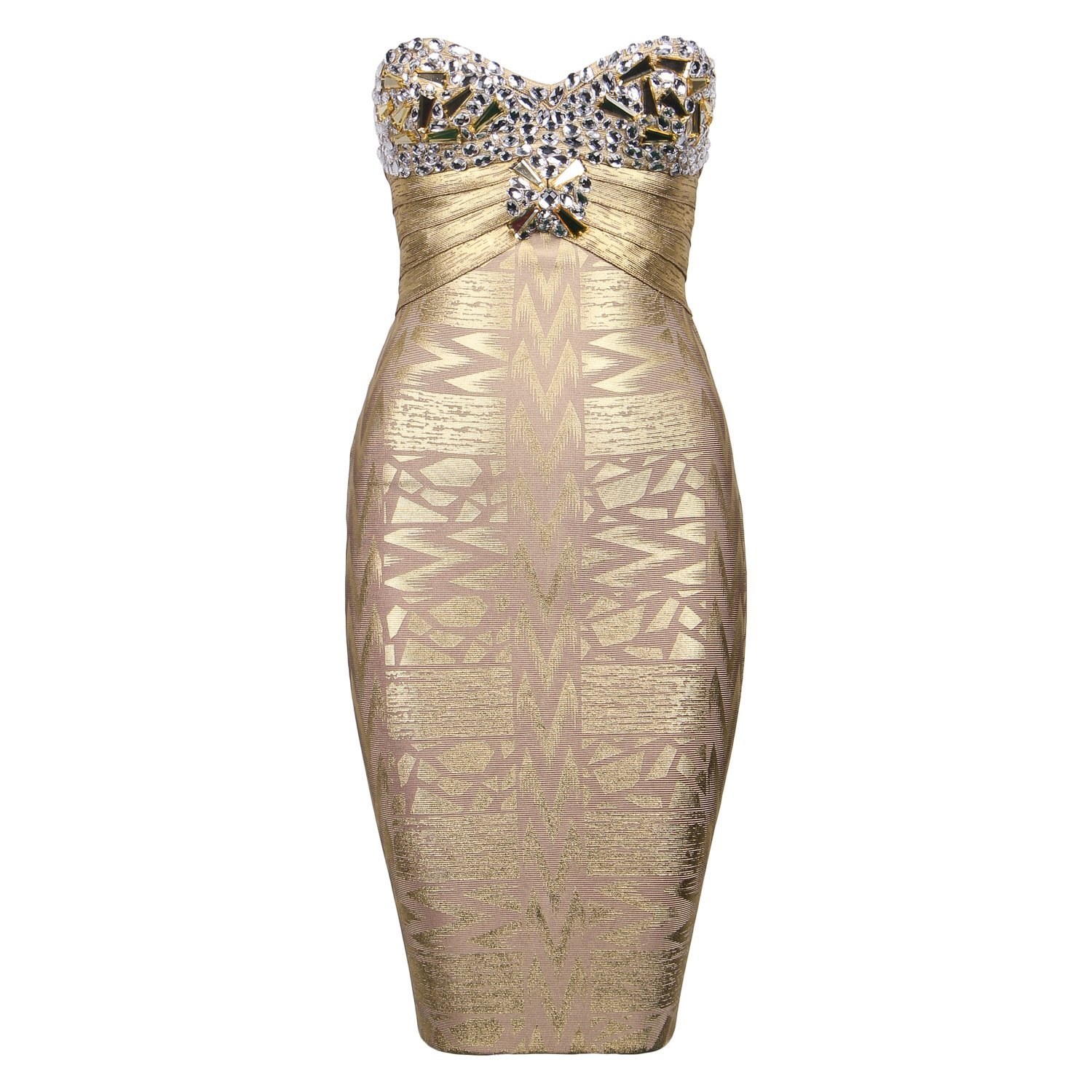 Ifashion Women's Rayon Strapless Beaded Foil Bodycon Bandage Mini Party Dress Gold Size US 6