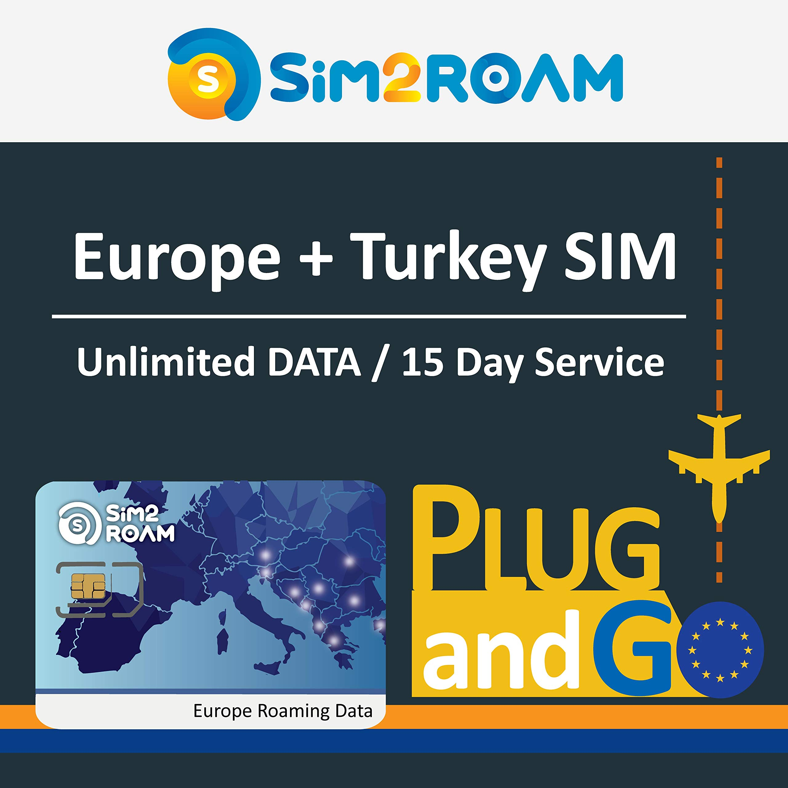 Europe sim Card Prepaid Unlimited Data with Free Roaming/USE in More Than 30 European Countries + Turkey Powered by SFR. Covers United Kingdom (UK), France, Germany, Switzerland, Ital by Aerobile