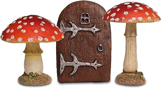 Jardín de hadas Starter Set – 2 rojo seta setas decorativas y puerta pequeña hada: Amazon.es: Jardín