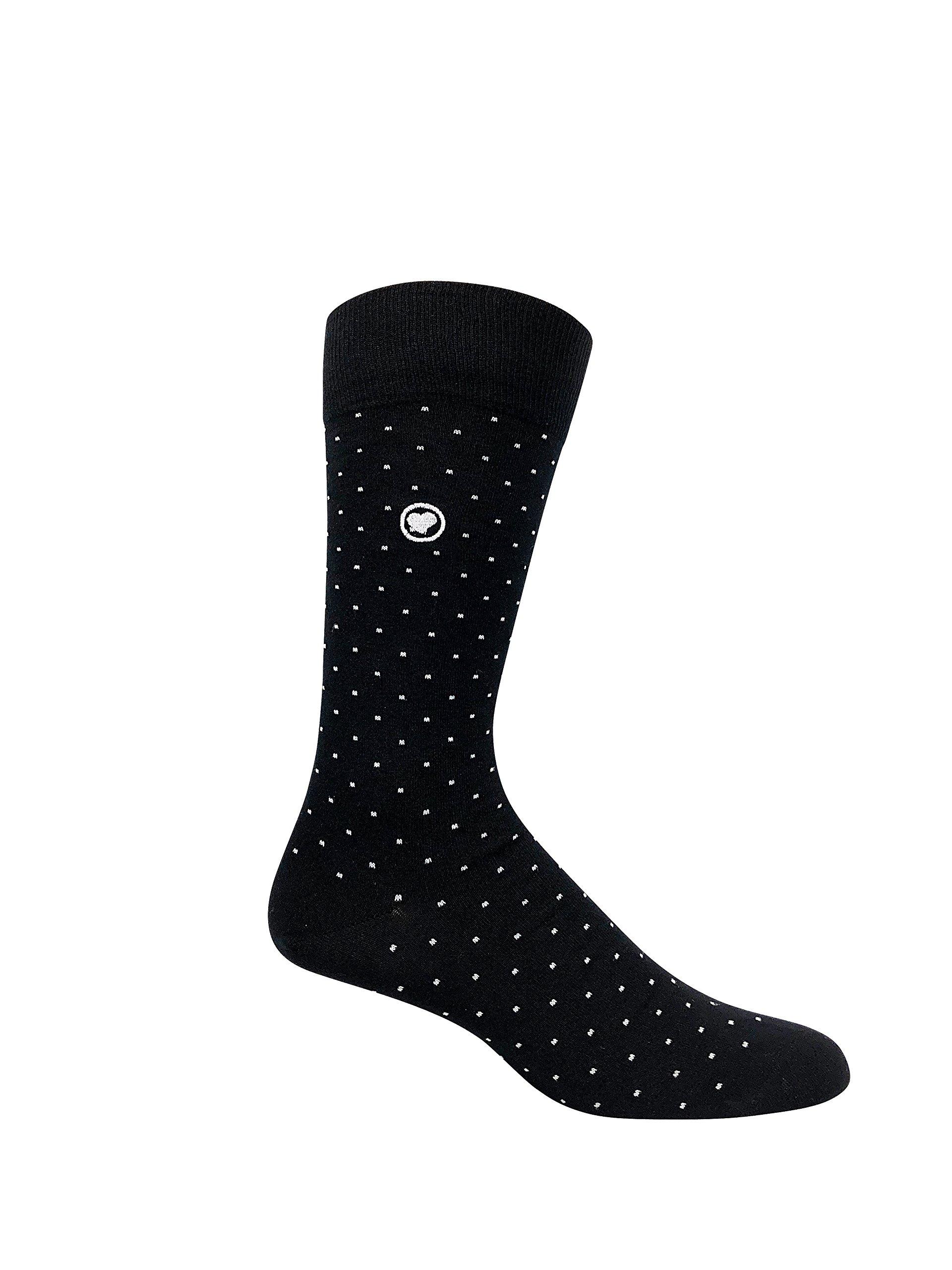 LOVE SOCK COMPANY Black Organic cotton men's dress socks bundle. 3 Premium black socks solid, polka dots and houndstooth patterned socks set by LOVE SOCK COMPANY (Image #6)