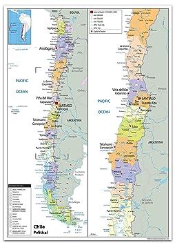 Chile Mapa Político - Papel laminado [ga], color transparente A0 Size 84.1 x 118.9 cm: Amazon.es: Oficina y papelería