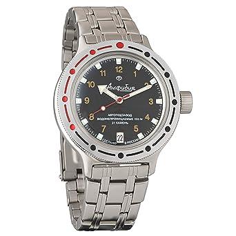 Vostok Amphibian 420270 Ruso Militar reloj 2416b 200 m auto Negro: Amazon.es: Relojes