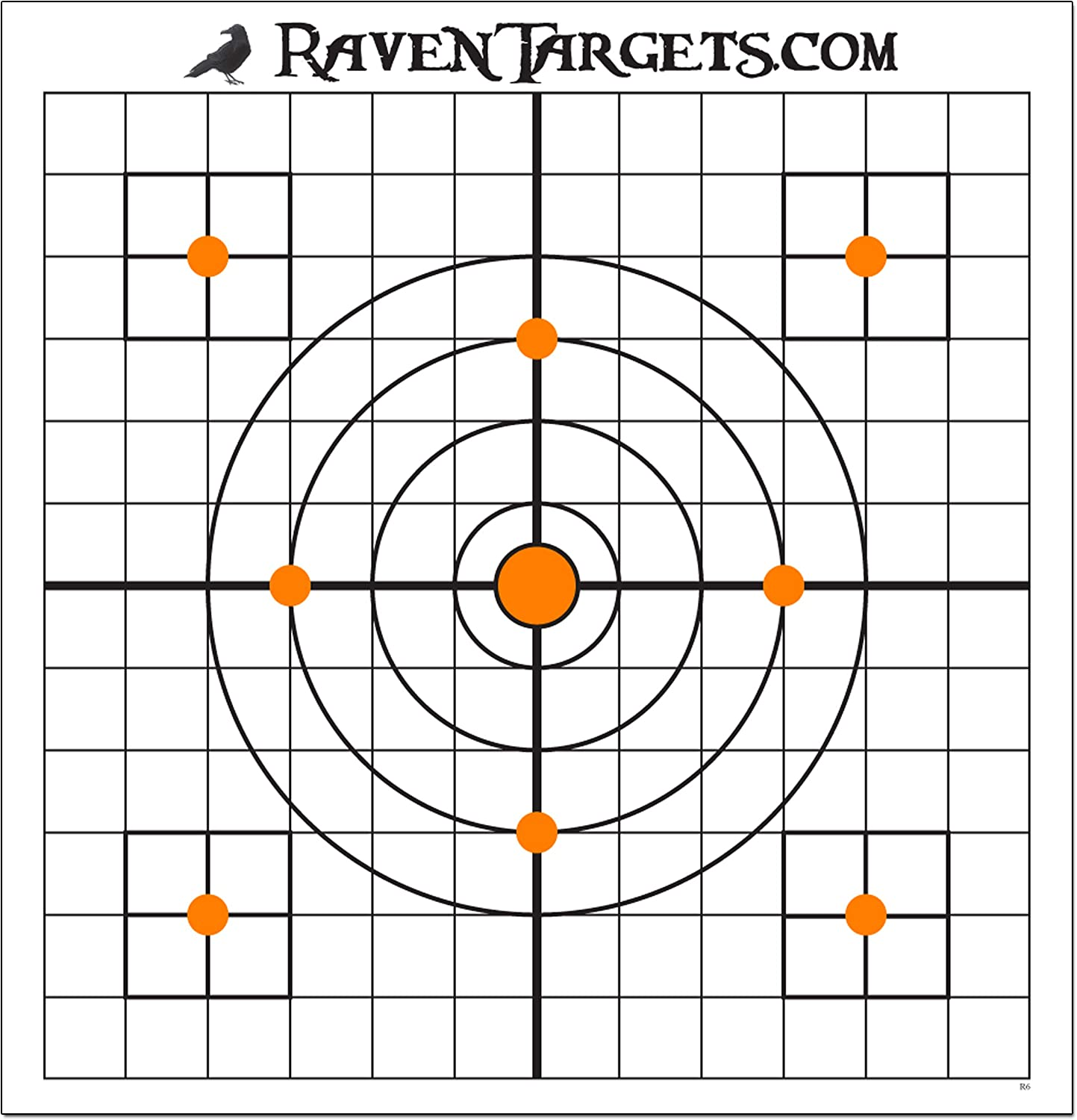 Premium White 80 lb Stock with Super Bright flourescant Orange and Flat Black Inks Multiple Target Zones on Each Target. Made in Canada Raven 12 inch Paper Targets