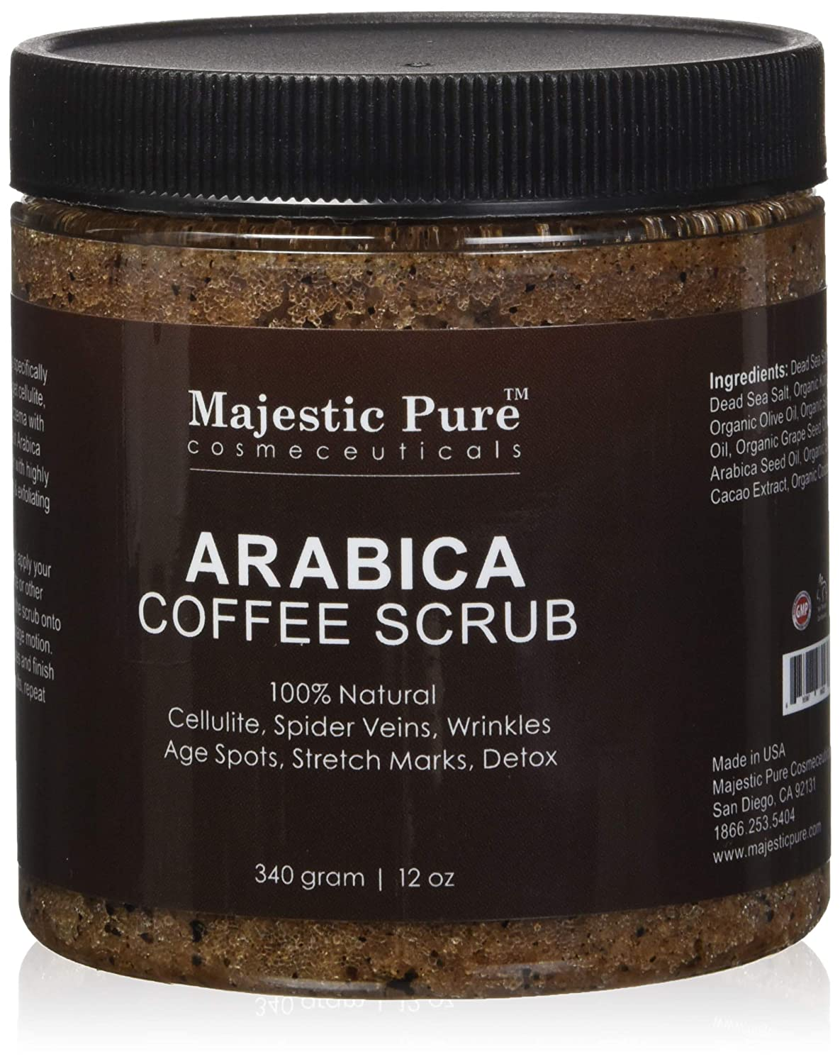 Arabica Coffee Scrub From Majestic Pure Helps Reduce Cellulite, Wrinkles, Stretch Marks, Spider Veins, Acne & Age Spots, 100% Natural Treatment & Care, Skin Detox, 12 Oz, Try Risk Free Today!