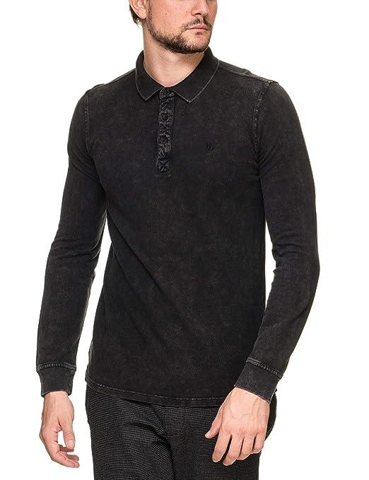4cc8b5e5b1dd GARCIA JEANS Men s Ανδρικο Μαυρο Μακρυμανικο Polo T-Shirt Black at Amazon  Men s Clothing store