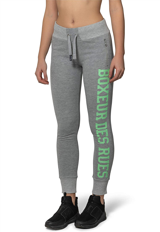 Marl-Grey Sweatpants with Glitter Print BOXEUR DES RUES Woman