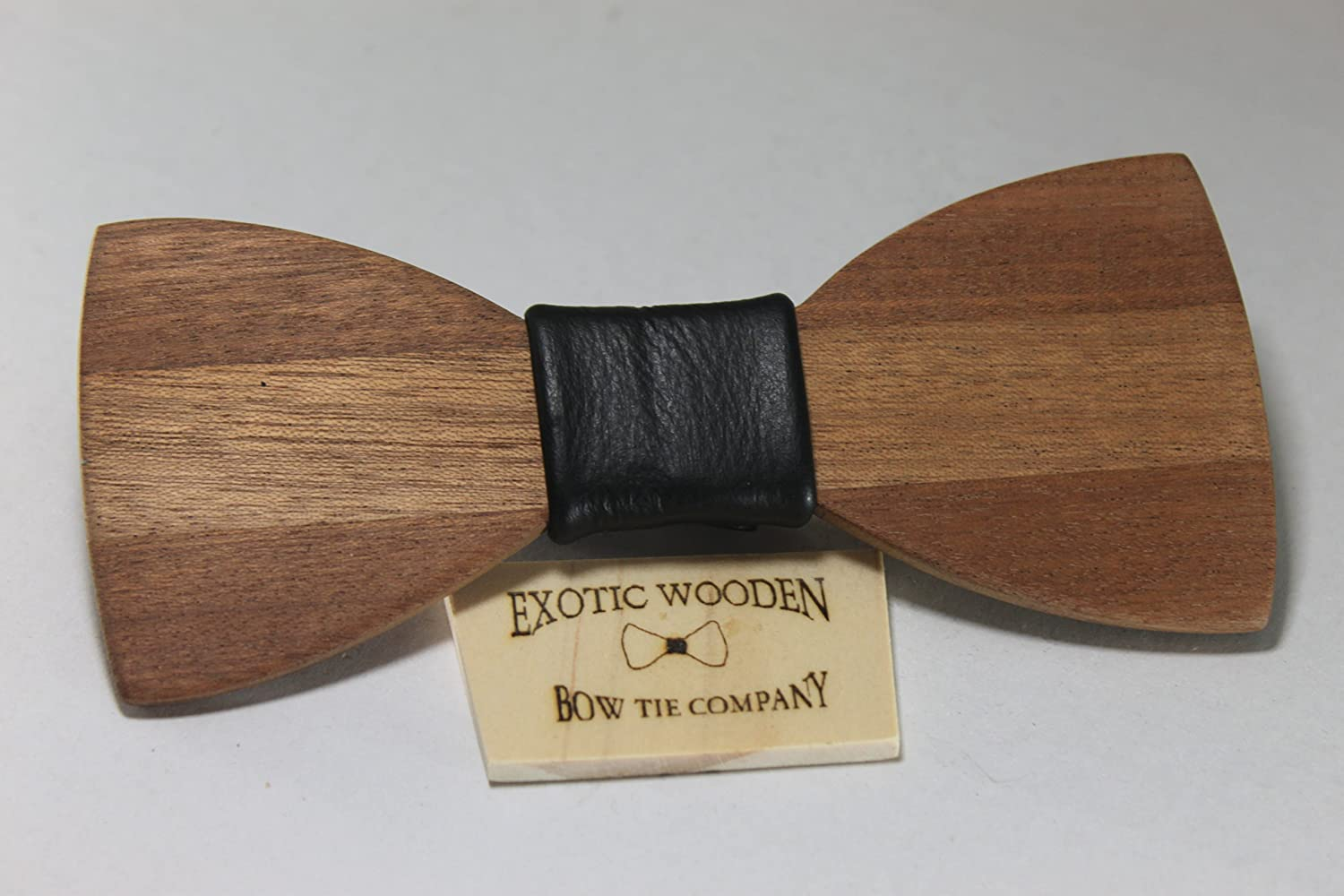 Solid Mahogany Wood with Black Leather Center 22 Elastic Band
