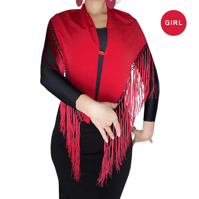 Free Gift Spanish Pin brooch Manton Seda Ole Ole Flamenco Dance Shawl for Girls Kids Red with Silk Fringe Spanish Triangle Black Mantoncillo Spanish Pico