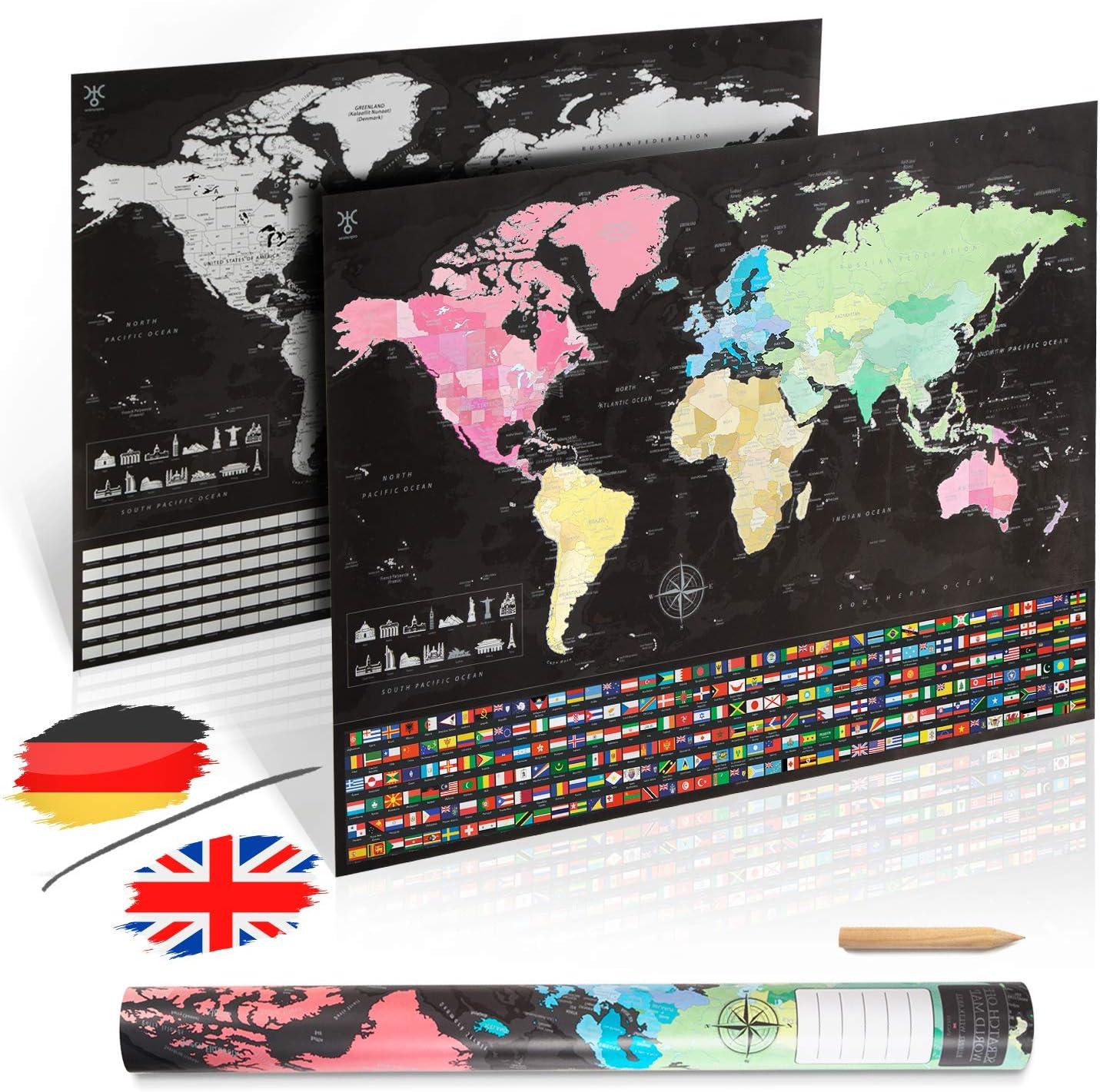Deutsch uranuspro Scratch Off World Map//Detaillierte Weltkarte zum Rubbeln im XXL Poster Format 84 x 60 Rubbel Weltkarte