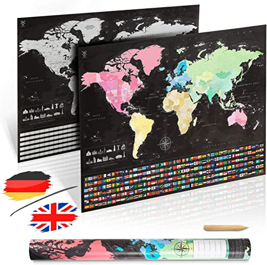 uranuspro Scratch Off World Map/detallado mapa del mundo para ...
