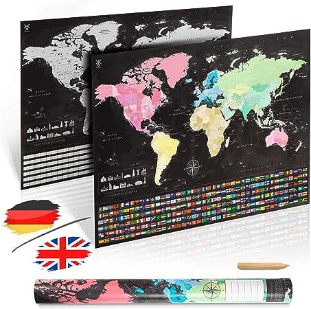 uranuspro Scratch Off World Map/detallado mapa del mundo para rascar en formato XXL póster 84 x 60 Rubbel Mapamundi, Papel de calidad., inglés., 841x594: Amazon.es: Amazon.es