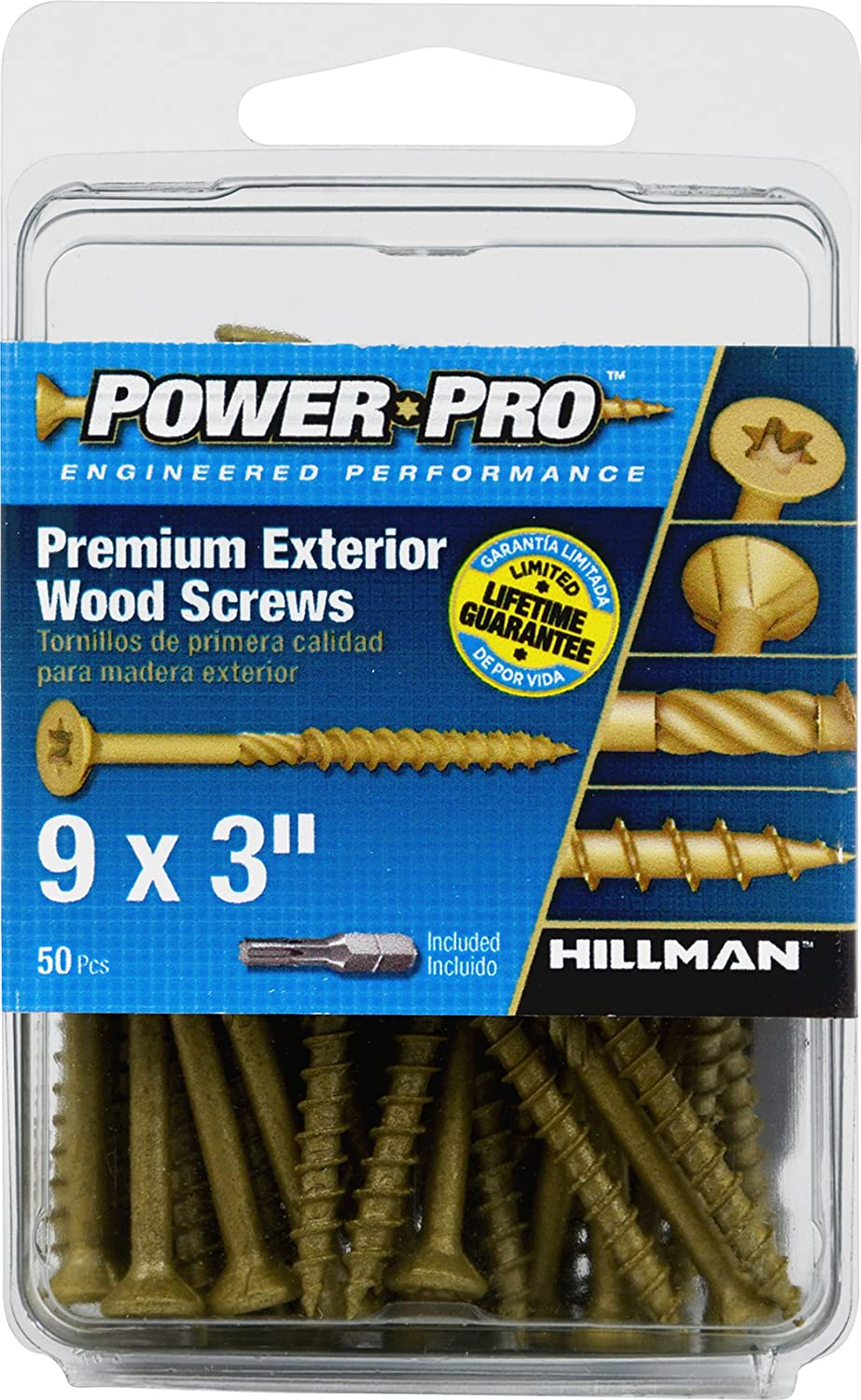 Hillman 42482 Power Pro Premium Exterior Wood Screw, 9 X 3-Inch, 250 Pack