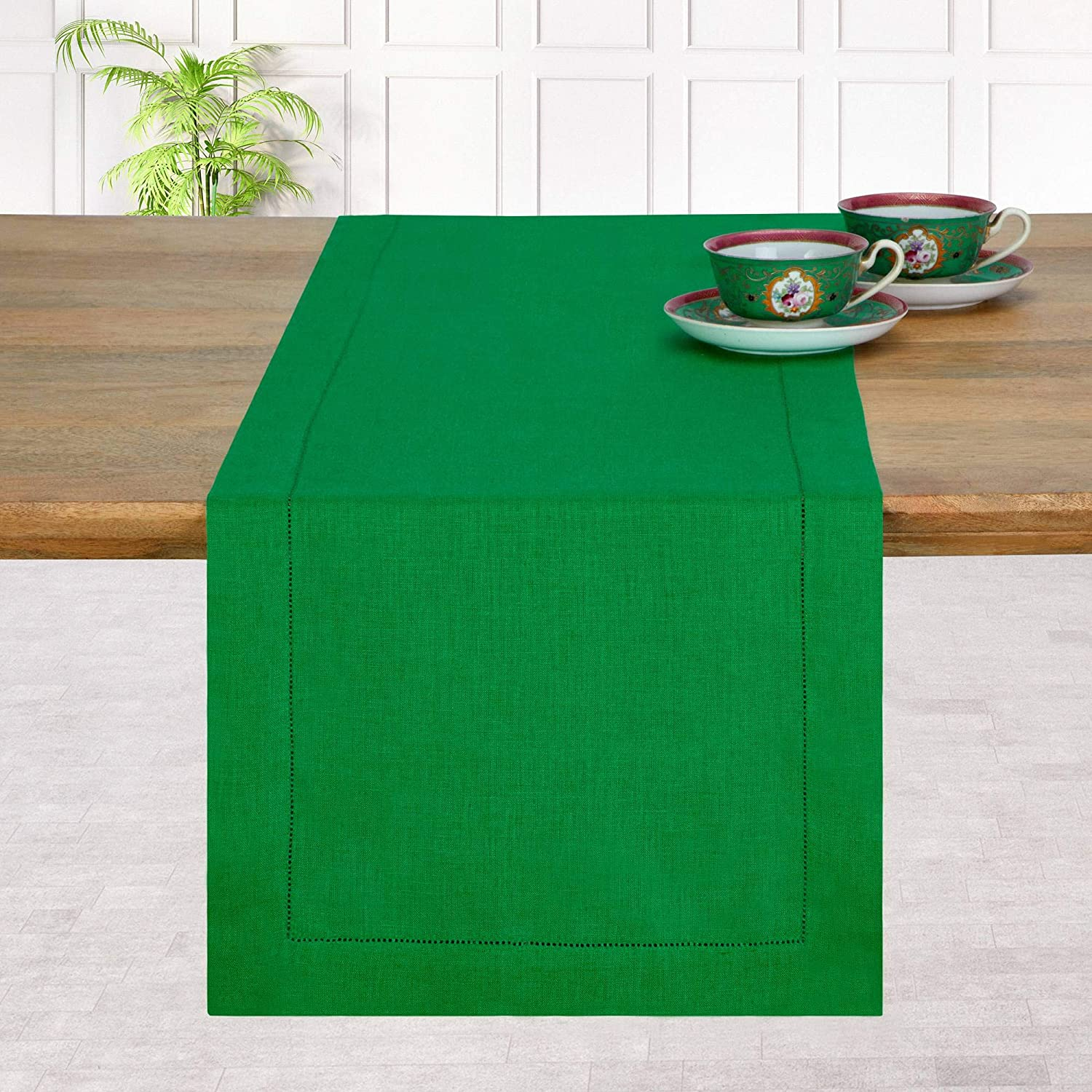 D'Moksha Homes 100% Pure Linen Hemstitch Table Runner - 14 x 36 Inch Glorious Green, Natural Fabric European Flax, Machine Washable, Handcrafted Dresser Scarf with Mitered Corners, Great Gift Choice