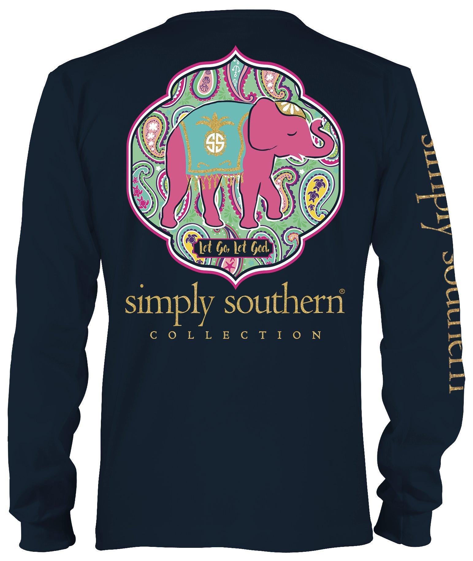 ffdf9ec4 Simply Southern Preppy Longsleeve Navy Shirt Let Go Let God - Medium Apparel