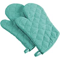 "DII 100% Cotton, Terry Oven Mitts 7 x 13"", Heat Resistant, Machine Washable for Everyday Kitchen Basic, Set of 2"