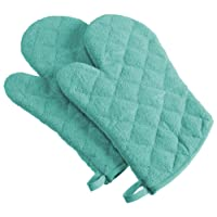 """DII 100% Cotton, Terry Oven Mitts 7 x 13"""", Heat Resistant, Machine Washable for Everyday Kitchen Basic, Set of 2"""