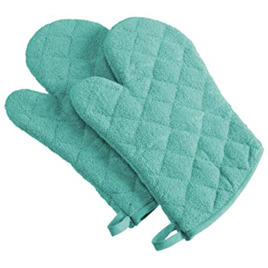 DII 100% Cotton, Machine Washable, Everyday Kitchen Basic Terry Ovenmitt Set of 2, Aqua